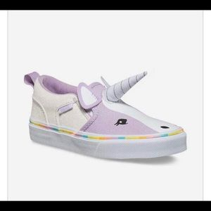 🆕 VANS Asher Canvas Unicorn Glitter Shoes Girls 4